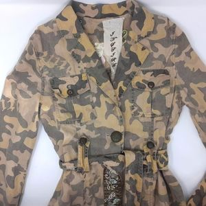 Camouflage Light weight Linen Belted Jacket M